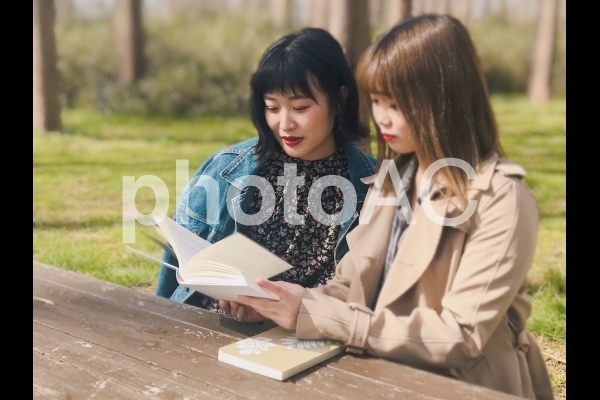 屋外で読書をする女性の写真