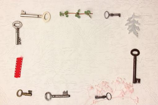 アンティーク キー 鍵 かぎ カギ セキュリティ 防犯 金属 古い レトロ ビンテージ ヴィンテージ 施錠 フレーム 枠 飾り 緑 植物 草 リボン りぼん
