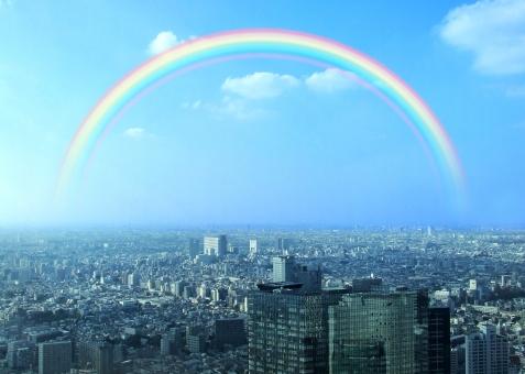 にじ ニジ rainbow 都会 都市 大都会 大都市 都心 新都心 副都心 東京 東京都 首都 首都圏 街並 city town tokyo 希望 夢 平和 青空 空 雲 sky ビル building 空撮 俯瞰 鳥瞰