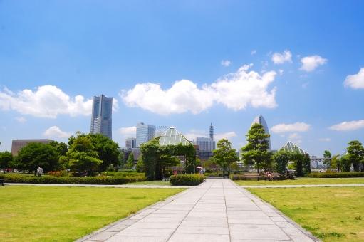 横浜 公園 赤レンガ 倉庫 緑 遊歩道 高層ビル 都会 オアシス 雲 白 樹木 芝 青空 爽快 ビジネス 休憩 一休み