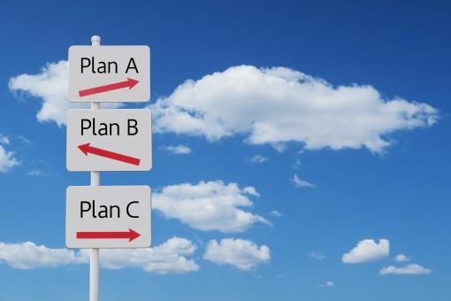 ビジネスプランABCの3択の道しるべと青空の写真