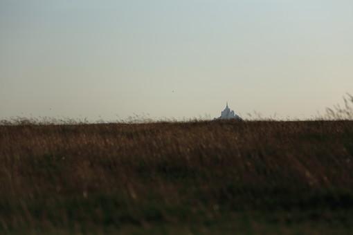畑越しに望むモン・サン・ミッシェル2の写真