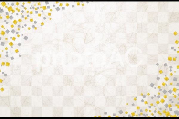 市松模様と金箔銀箔の和紙テクスチャ背景素材の写真