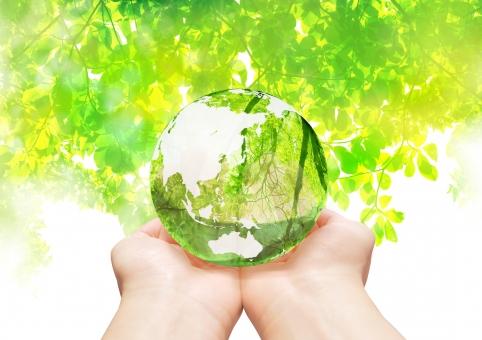 地球環境を手の平に乗せる-緑の抽象背景の写真
