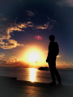 宍道湖 風景 湖 自然 シルエット 海 夕陽 夕日 夕焼け 夕景 島根県 景色 雲 太陽 反射