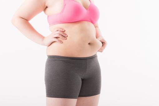 日本人 女性 ぽっちゃり 肥満 ダイエット 痩せる 痩せたい 目標 ビフォー アフター 太っている 太り気味 メタボ メタボリックシンドローム 脂肪 体系 ボディー 白バック 白背景 上半身 お腹 お腹周り ウエスト パーツ 体のみ 掴む つかむ つまむ 肉 気にする 横向き 贅肉