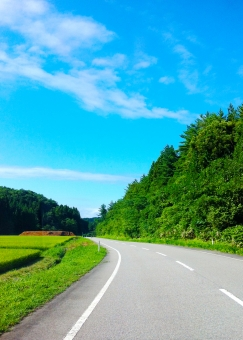 ドライブ 道路 車道 みち 空 青空 山 森 林 夏 初夏 雲 くも ドライブデート 背景 バックグラウンド 車の運転 快晴 晴れ アスファルト 白線 ドライブ旅行 田舎 ドライブコース 自然 風景