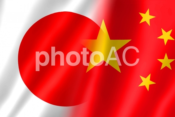 日中国旗1 シンプル の写真