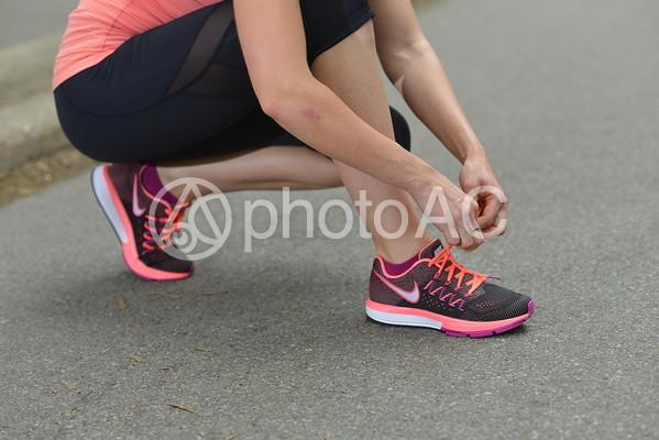 靴ひもを結ぶの写真