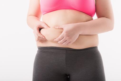 日本人 女性 ぽっちゃり 肥満 ダイエット 痩せる 痩せたい 目標 ビフォー アフター 太っている 太り気味 メタボ メタボリックシンドローム 脂肪 体系 ボディー 白バック 白背景 上半身 お腹 お腹周り ウエスト パーツ 体のみ 掴む つかむ つまむ 肉 気にする 正面 贅肉