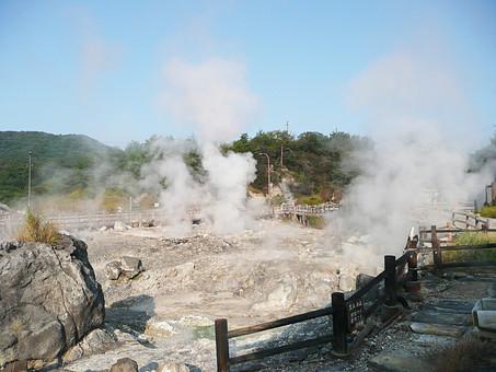 雲仙岳 長崎県 雲仙 山 温泉 噴気 湯けむり 岩