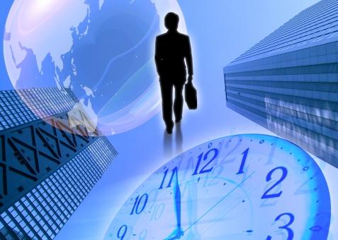 ビジネスマン 地球 時計 ビル 都会 イメージ シルエット 歩く 徒歩 未来 近未来 希望 グローバル global 国際的 世界 world 都市 city town 時間 time clock 起業家 実業家 起業 ofiice worker 営業 イノベーション