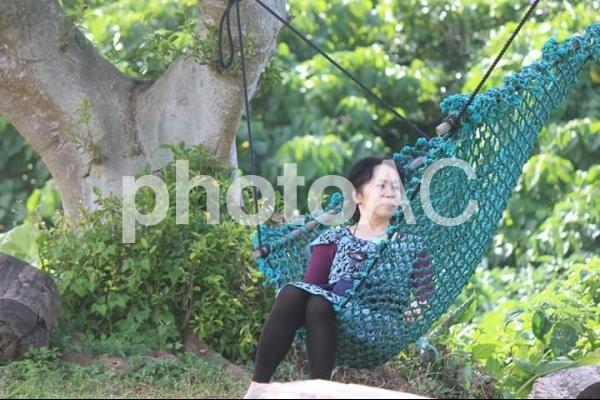 石垣島のフルーツパーラーのハンモックの写真