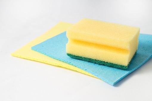 白バック 発泡 スポンジ カイメン 海綿 黄 青 溝付 凹 水色 緑 3個 2層 掃除 きれい 綺麗 清潔 洗う 洗車 キッチン 台所 洗剤 食器 家事 労働 厨房