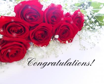 おめでとうございます おめでとう バラの花束 赤いバラ 花束 お祝い congratulations メッセージ カード キラキラ めでたい 門出 入学 結婚 就職 花 植物 背景 エレガント 上品 贈り物 ギフト プレゼント