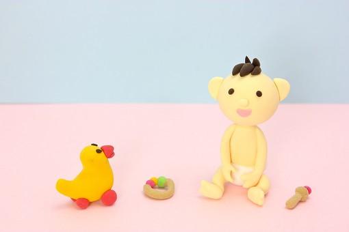 クレイ クレイアート クレイドール ねんど 粘土 クラフト 人形 アート 立体イラスト 粘土作品 赤ちゃん 座る 遊ぶ おもちゃ 玩具 オモチャ あひる アヒル 赤ん坊 赤子