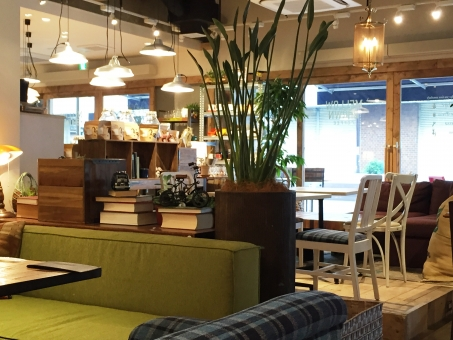 インテリア 温かい カフェ 緑 ダウンライト 飲食店 テーブル 椅子 ソファ ソファ席 オシャレ 内装 自由が丘 東京 休日 ゆっくり のんびり