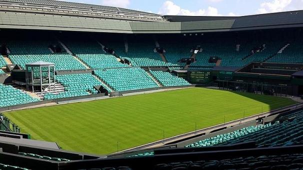 イギリス テニス テニスコート 芝 スポーツ 建物 緑
