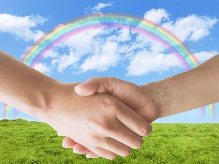握手と草原と青空と虹の写真