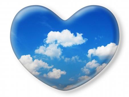ハート はーと heart 素材 背景 アイコン ラブ love 愛 ロマンチック バレンタイン フレーム クリスタル風 枠 空 青空 雲 白雲 青 白 白バック