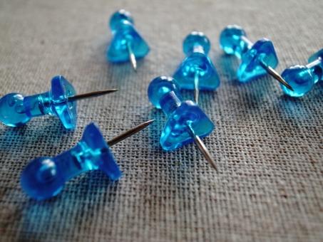 押しピン ピン 画鋲 文房具 文具 小物 雑貨 透明感 青 ブルー