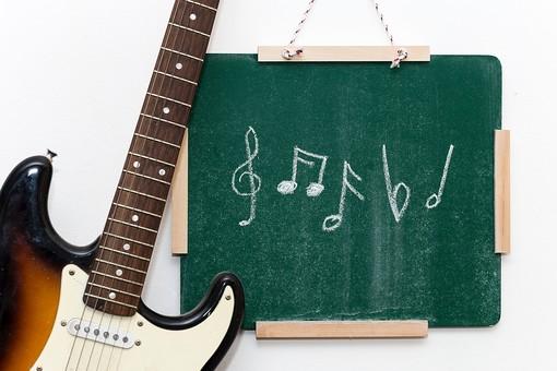 黒板 緑 教育 学校 スクール 学習 学び舎 ボード 板 教室 盤 背景 バックグラウンド バックグランド 手書き 文字 図 図形 絵 言葉 説明 屋内 磁石 壁掛け 紐 ひも 音符 複数 記号 音楽 ギター エレキ