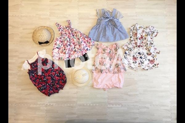 女の子 夏服 ベビー服 コーディネートの写真