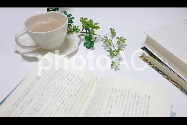カフェで読書タイムの写真