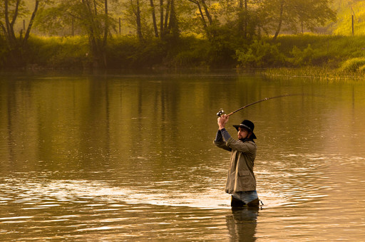 川釣り 川 河 川の中 河の中 ハット 帽子 立つ 水面 釣り フィッシング フライフィッシング アウトドア 魚 釣り人 フィッシャーマン 人物 男性 外国人 白人  景色 風景 自然 趣味 ホビー 横向き 釣り竿 ロッド リール 木 林 森 緑 霧 投げ釣り キャスティング