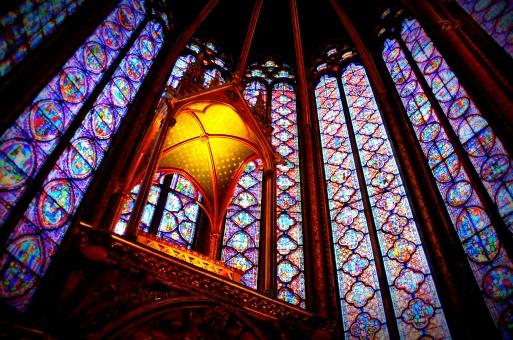 パリ フランス ステンドグラス ガラス サンミシェル カラフル