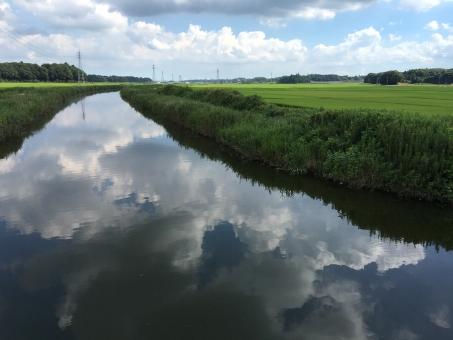 水面 雲 空 田園風景 田んぼ 川 地平線 田園 風景 反射 水 水量 映る 青 緑 白 背景