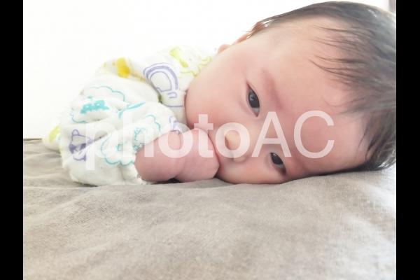 うつ伏せの赤ちゃん 2の写真