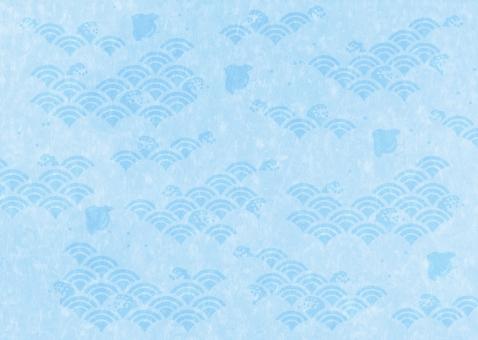 波間の千鳥柄_和紙_水色の写真