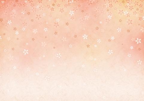 背景 背景素材 テクスチャ 桜 さくら サクラ 橙 オレンジ 花 和 和紙 和柄 正月 お正月 新年 年賀状 壁紙 年賀 グラデーション 模様 春 卒業 卒業式 入学 入学式 秋