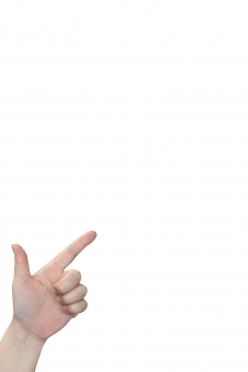 左下から指で何か示す仕草の女性の左手psdの写真