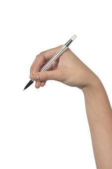 人物 背景 白 白背景 白バック 切り抜き パーツ ボディパーツ 腕 数字 片手 ポイント 指 手首 ジェスチャー 身ぶり 指示 肌 余白  シンプル ハンドパーツ 右手 人の手 ペン シャープペン 持つ 書く