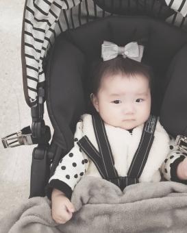 ベビーカーに乗った赤ちゃんの写真