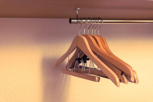 ハンガー 衣文掛け 衣桁 洋服掛け 衣紋掛 えもんかけ クローゼット 押し入れ 木製 樹 木 吊るす 掛ける 衣類 室内 屋内 金具 建築 内装 空間 生活 ライフスタイル 家 設備 衣替え 収納