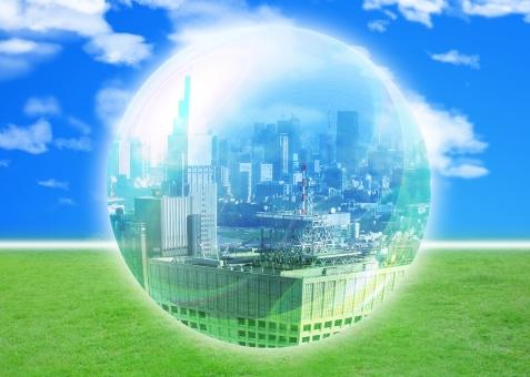 都市 CG 水晶 クリスタル シャボン シャボン玉 球体 球 イメージ 空 青空 エコロジー blue sky 青 雲 芝生 ビジネス エコ eco 環境 環境問題 都市開発 開発 デベロッパー developer 造成 街づくり 首都圏 経済