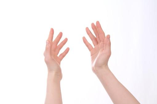 手 ハンド ハンドパーツ 人物 女性 背景 白 白背景 白バック 切り抜き パーツ ボディパーツ 腕 指 手首 ジェスチャー 身ぶり 仕草 肌 余白 シンプル コピースペース 両手 触る 若い 明るい 受け取る 受け止める 愛情 優しい 助ける 助け 差し出す 大事 大切 てのひら 手のひら 掌