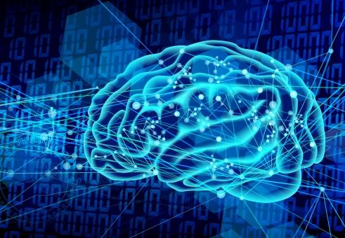 人工知能イメージ-青背景の写真