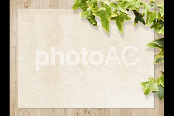木目と和紙テクスチャと植物背景横位置素材の写真