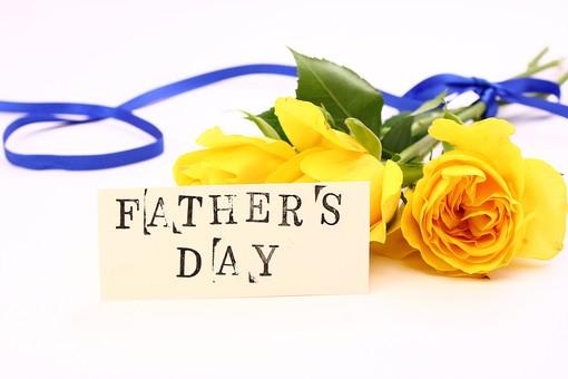 父の日 イベント プレゼント ギフト 行事  花 フラワー 生花 バラ ばら 薔薇 明るい さわやか 爽やか  黄色 青色 6月 六月 感謝 贈る    カード FATHER'S DAY father's day father リボン りぼん 白 白バック