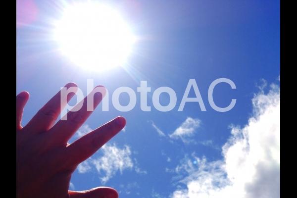 手の平と太陽2の写真