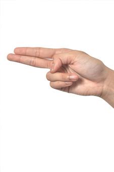 人物 背景 白 白背景 白バック 切り抜き パーツ ボディパーツ 腕 数字 片手 ポイント 指 手首 ジェスチャー 身ぶり 指示 カウント番号 1 一番 一つ 肌 余白  シンプル ハンドパーツ 右手 人指し指 中指 指差し 向こう あっち 人の手 矢印 2 二つ 箸