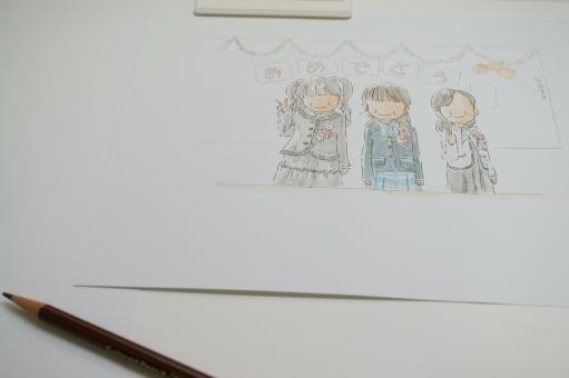 イラスト 絵 色鉛筆 水彩 入学式 子供の絵 子供