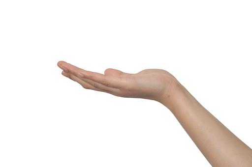 人物 背景 白 白背景 白バック 切り抜き パーツ ボディパーツ 腕 片手 ポイント 指 手首 ジェスチャー 身ぶり 肌 余白  シンプル ハンドパーツ 右手 手のひら 乗せる 手ぶり 持つ パワー エネルギー 人の手