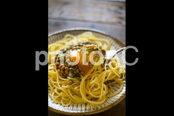 納豆スパゲッティの写真