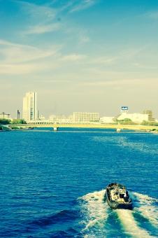 boat 川 隅田川 橋 浅草 東京 tokyo Tokyo Asakusa ASAKUSA すみだがわ 小舟 船 青空 あおぞら 空 青 あお そら 雲 くも Blue sky SKY BLUE blue sky Blue Sky