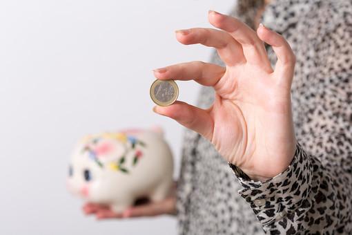 お金 コイン 硬貨 現金 通貨 貨幣 小銭  つり銭 マネー 外国 海外 外貨 貯金  貯蓄 金融 経済 ビジネス 価値 貯金箱 豚 ブタ ぶた 貯める 白バック 白背景 アップ 人物 手 コツコツ 1ユーロ ユーロコイン ユーロ